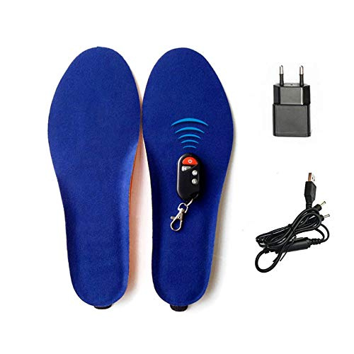 BININBOX Plantillas Calefactables,Mando a Distancia para Regular la Temperatura Calentadores de pies, Recargable,Mujeres Hombres Plantillas calefactables Unisex
