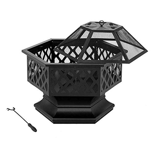 Buy Discount 24 Inch Durable Nice Hex Shaped Patio Fire Pit Outdoor Firepit Bowl Fireplace Wood Burn...