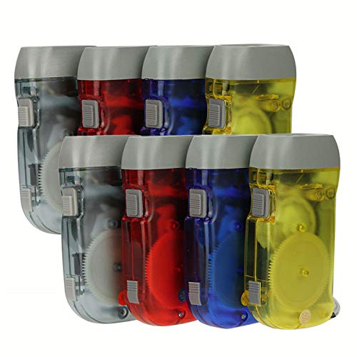 KKSQ Set of 4 Hand Crank Flashlight Squeeze Powered Pocket Torch Immediate Light for Emergency/Camping/Outdoor Hiking (8)