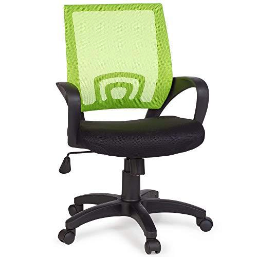 FineBuy Bürostuhl OLEG Lime Grün Schreibtischstuhl Stoff Drehstuhl mit Armlehne Jugend-Stuhl Büro-Sessel höhenverstellbar Netz 120 KG Netz ohne Kopfstütze Wippfunktion Lendenwirbelstütze