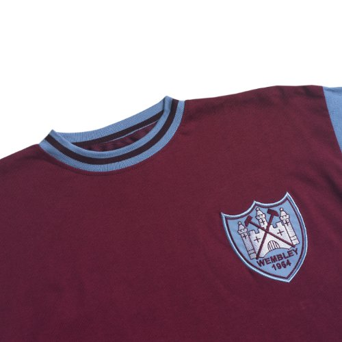 Score Draw Official Retro West Ham United Mens 1964 FA Cup Final shirt - XX-Large, Claret And Sky