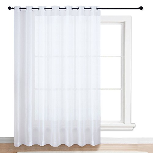 NICETOWN Patio Door Sheer Curtain - Vertical Voile Drape, Extra Wide Curtain Panel Window Treatment for Sliding Glass Door (White, 1 Piece, W100 x L84 inches)