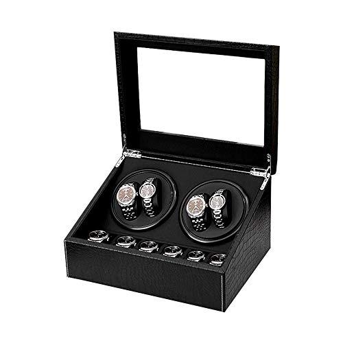 AMAFS Caja enrolladora de Reloj para 10 Relojes automáticos, Motor súper silencioso, Cuero de PU, Relojes Suaves, Almohadas, Relojes Beautiful Home