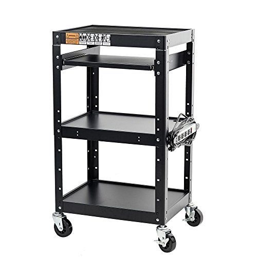 Pearington - AVCART-01 AV Presentation Cart Stand for Video Projector, TV, Laptop Computers, Printers-Metal Construction Rolling Storage Cart with Adjustable Shelves, 4 Wheels, 4 Outlets, 12ft Cord, Black