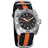 Vostok Amphibian Scuba Dude Collection Automatic Mens Wristwatch Self-Winding Military Diver Amphibia Case Wrist Watch (710380 Black+Orange)