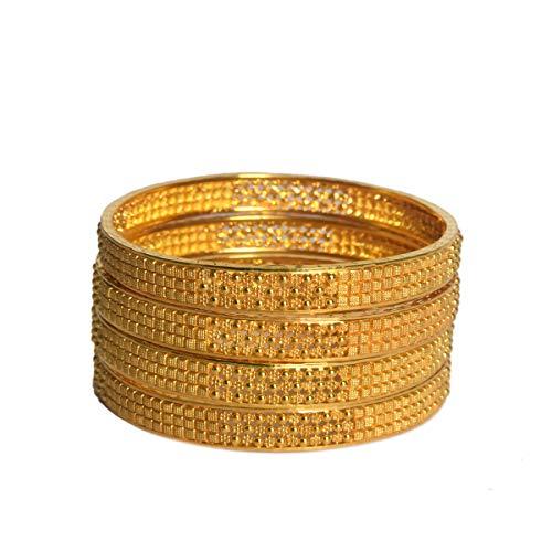 Bangle in oro giallo design tradizionale indiano, oro giallo 18 carati Bracciale in oro giallo per donne, cravatta e abiti da donna