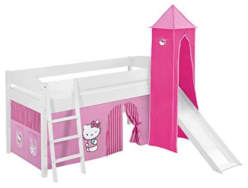 Lilokids Spielbett IDA 4105 Kitty Teilbares Systemhochbett weiß-mit Turm, Rutsche und Vorhang Kinderbett, Holz, Hello kittty rosa, 208 x 220 x 185 cm