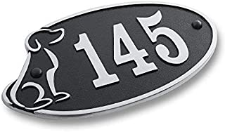 The Metal Foundry House Number Address Plaque Perfect for Dog Lovers. Cast Metal Personalised Yard Or Mailbox Sign with Oodles of Color, Number and Letter Options. Handmade in England Just for You