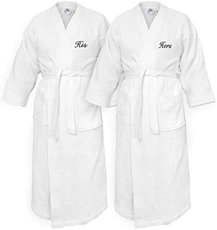 Kaufman Personalized Waffle Kimono Bathrobes Embroidered 100 Cotton Set of Two Spa Robes 2 Pack product image