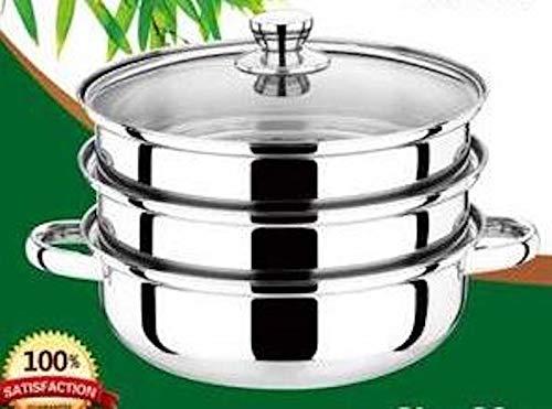 RHP Dampfgarer Dampf Kochtopf 28cm Mantykocher Dampfkocher Gemüse-/ Kartoffeldämpfer Edelstahl mit Glasdeckel spülmaschinengeeignet