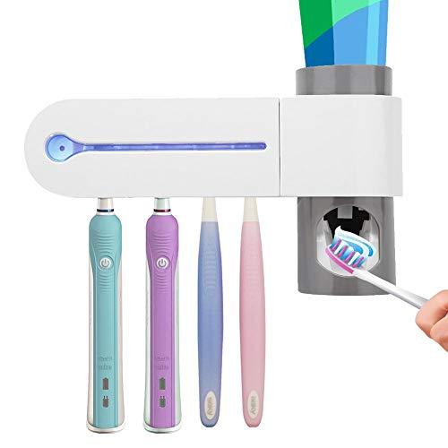 Porta spazzolino elettrico - Supporto per spazzolino da denti sterilizzatore portaspazzolini uv sterilizzatore dispenser automatico di dentifricio spazzolino holder set con montaggio parete