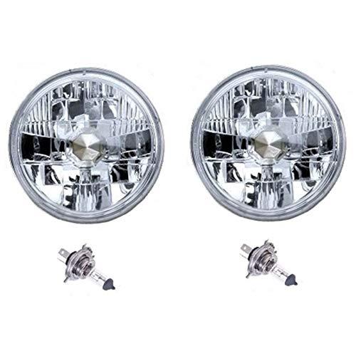 Octane Lighting 7' Diamond Crystal Clear H4 Conversion Headlight Halogen Headlamp Light Bulb 60/55W Pair