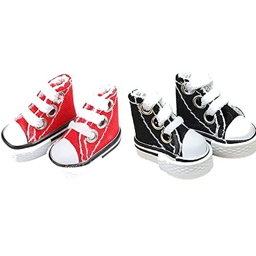 JIZHENG Mini Finger Shoes Skateboard Kits Cute Canvas Sneaker Skate Board Shoes Dance Shoesfor Finger Breakdance Fingerboard Doll Shoes Making Sneaker Color Red+Black 4 Pcs