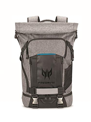 Acer Predator Rolltop Gaming Backpack, Water Resistant Lightweight Travel Backpack Fits and Protects Up to 15.6' Gaming Laptops, Grey with Teal Accents