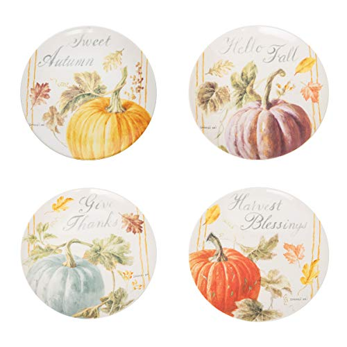 C&F Home Pumpkin Patch Salad Plate Set of 4 by Dunhui Nai Sweet Autumn Hello Fall Give Thanks Harvest Blessings Thanksgiving Decor Decoration White
