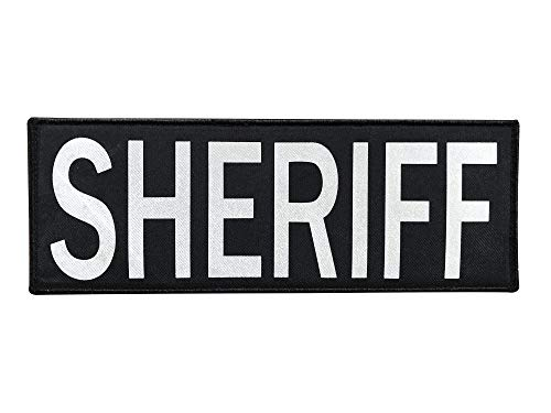 SUVIYA 11x4 Inch Large Untra Reflective Back Panel Sheriff Patch Police Patch with Hook and Loop (Gray-Reflective,11x4 inch)