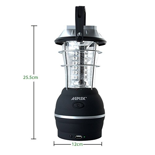 AGPTEK Solar Lantern, 5 Mode Hand Crank Dynamo 36 LED Rechargeable Camping Lantern Emergency Light, Ultra Bright LED Lantern - Car Charge - Camping Gear for Hiking Emergencies Hurricane Outages