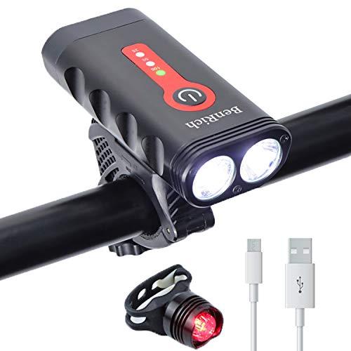 BenRich MTB-Fahrradlichter-Set, 2400 Lumen, Fahrradbeleuchtung vorne und hinten, USB wiederaufladbar, superhell, drehbar, 4400 mAh, Mountainbike-Straßenlichter für Nachtfahrer Radfahrer