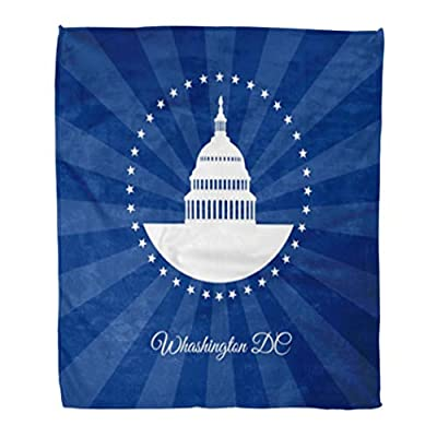 Golee Throw Blanket Washington Dc Symbol White House and Capitol Building Arounded Stars 60x80 Inches Warm Fuzzy Soft Blanket for Bed Sofa