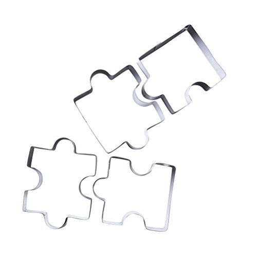 BESTonZON Set de Cortadores de Galletas de Acero Inoxidable DIY Puzzle 4 Piezas(Plata)
