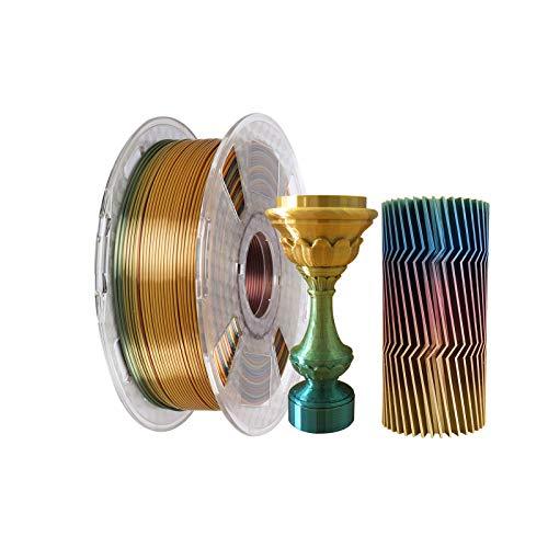 Kehuashina Seda Pla Filamentos para impresoras 3D y bolígrafos, multicolor, tipo arco iris, 1kg. Bobina multicolor de cambio gradual aleatorio - Filamento de 1.75 mm de diámetro