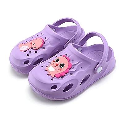 UBFEN Toddler Little Kids Clogs Cartoon Sandals Children Shower Pool Beach Slippers Boys Girls Dinosaur Garden Clogs Non-Slip Lightweight Slide Sandals