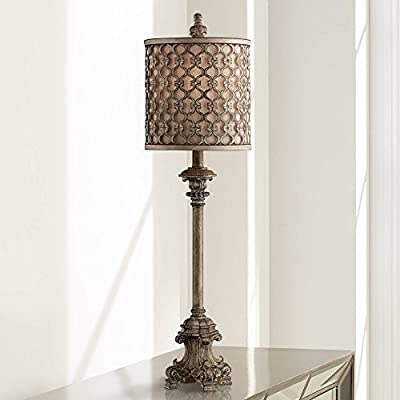 """French Buffet Table Lamp Beige Scroll Metal Lattice Candlestick Framed Cylinder Shade for Dining Room - Regency Hill - 34"""" high overall. Drum shade is 10"""" high x 9 1/2"""" wide. Uses one 100 watt standard-medium base bulb (not included). On-off socket switch. A decorative tall buffet lamp. Traditional style from the Regency Hill brand. - lamps, bedroom-decor, bedroom - 41F+pmAiQAL. SS400  -"""