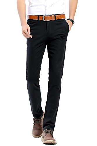 INFLATION Men's 100% Cotton Slightly Stretchy Slim Fit Casual Pants, Flat Front Trousers Dress Pants for Men Black