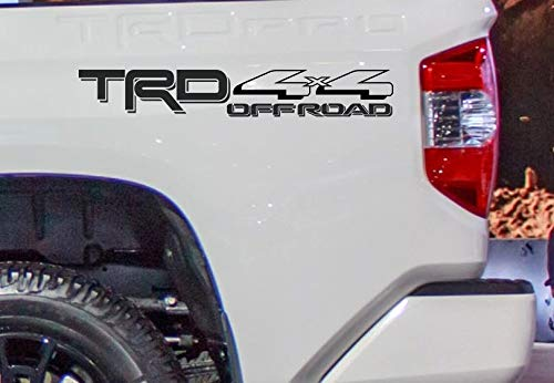 Coza 4 x 4 Decal Sticker Compatible with TRD Tacoma Tundra or Any Toyota Truck Pair Set of 2 Black Matte