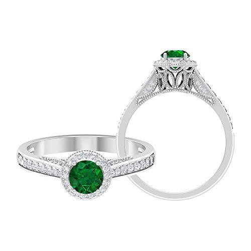 Anillo de halo solitario, piedras preciosas redondas de 0,83 quilates, anillo de oro esmeralda de 5 mm, anillo vintage de piedra lateral, 14K Oro blanco, esmeralda, Size:EU 46