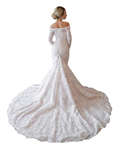 Women's Off Shoulder Lace Beach Mermaid Wedding Dresses for Bride with Long Sleeve Train Bridal Ball Gown Ivory