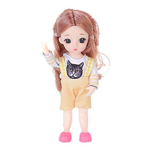 20 Cm Ändern Make-Up Puppe, Synthetische Mohair BJD Puppe Körper Mit Perücke Beweglichen Gelenken Puppe Zubehör Für Mädchen Weihnachten Geburtstagsgeschenk