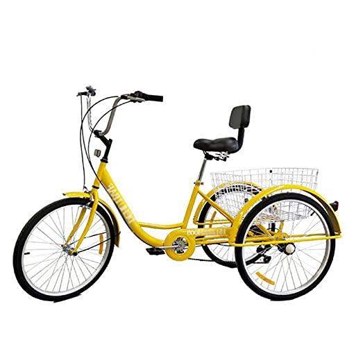 Triciclo para Adultos Three Wheel Cruiser Bike 24in Triciclo Adulto con Cesta De Compras Y Respaldo del Asiento para Personas Mayores, Mujeres, Hombres(Color:Yellow)
