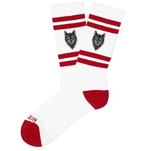 Jimmy Lion Athletic Socken für Damen und Herren. Weiß Athletic Wolf Socken Größe 36-40