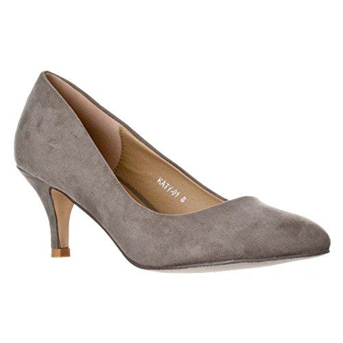 Riverberry Women's Katy Pointed, Closed Toe Low, Kitten Heel Pumps, Grey Suede, 9