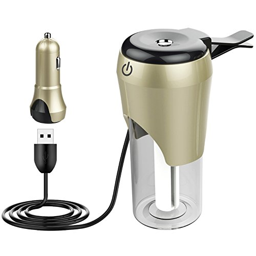ASdf Difusor del Aroma del Aire del Coche 12V Mini Purificador del Aire Aromatherapy Difusor del Aceite Esencial Fabricante Portátil De La Niebla De La Niebla (Color : Champagne Gold)