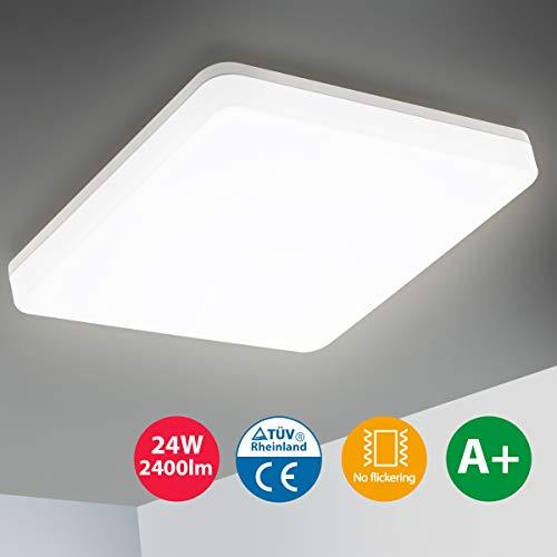 Oeegoo LED Deckenleuchte 24W, 2400LM Flimmerfreie Deckenlampe, IP44 Wasserdichte Badlampe Bürodeckenleuchte Badezimmerlampe Wohnzimmerlampe Schlafzimmerlampe Balkonlicht Neutralweiß 4000K