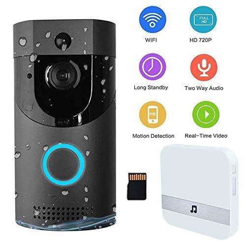 Videoportero WiFi Alexa, Timbre Video Inalámbrico Exterior Impermeable, Mirilla Puerta WiFi Movil 720P HD con Visión Nocturna,Detección de Movimiento PIR y Audio Bidireccionalblack B