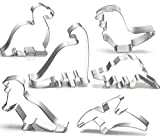 Dinosaur Cookie Cutter Set by GONOMI, Larger Size, Food Graded Stainless Steel, Brontosaurus,Camarasaurus,Stegosaurus,T-Rex, Pterodactyl and Cute Godzilla, for Kids Birthday Party - 6 Pieces (Renewed)