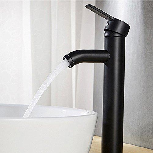 SDYDAY Grifo para lavabo de cobre negro mate, con una manija, para agua fría y caliente, diseño elegante y retro, orificio único, duradero Tamaño libre Negro