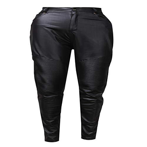 Jeans Hose Sexy FrauenSchlanke Lederhose Skinny StretchyPencil Pants Hohe Taille Hose XL Schwarz