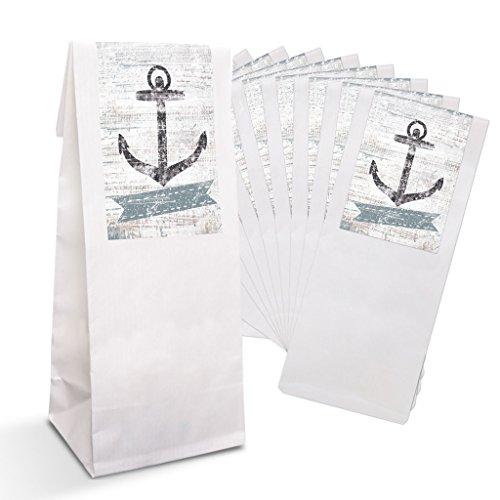 25 kleine weiße Papiertüten Gebäcktüten mit Pergamin-Einlage (7 x 20,5 x 4 cm) + Sticker Banderole-Aufkleber Anker blau weiß maritim vintage Hochzeit Verpackung Gastgeschenke give-aways