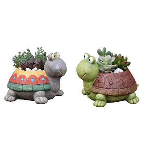 Youfui Home Decor Pot Turtle Shaped Succulent Flowerpot Decoration for Home Office,Set of 2
