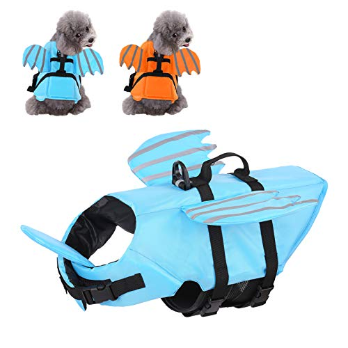 SUNFURA Dog Life Jacket with Wings, Adjustable Reflective Pet Life Vests for Swimming with High Buoyancy & Rescue Handle, Safety Pet Lifesaver Flotation Suit for Small Medium Large Dogs (Blue, L)