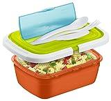 Rotho Quick and Safe Lunchbox 1 Liter mit Besteck, Kunststoff (BPA-frei), bunt, 1 Liter (21 x 15 x 7,5 cm)