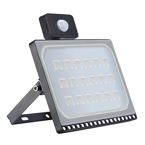 100W LED Strahler mit Bewegungsmelder, 8000LM Superhell Außenstrahler LED Fluter 3000K Warmweiß, IP65 wasserdicht, Flutlichtstrahler Scheinwerfer Licht Wandleuchte für Garten Garage Hof
