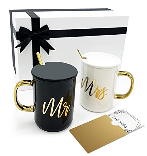 Triple Gifffted Mr y Mrs Set de Tazas de Café con Tapa y Cuchara para Aniversario de Boda, Parejas Casadas, Regalo de Compromiso, Novias, Mujeres, Despedida de Soltera, Navidad, Empaquetado de Lujo