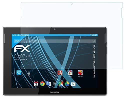atFolix Schutzfolie kompatibel mit Medion LIFETAB S10366 MD99781 Folie, ultraklare FX Bildschirmschutzfolie (2X)