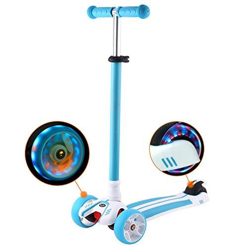 WeSkate Roller Kinder Dreiradscooter mit PU LED Leuchtenden Räder,einstellbaren Höhe und Doppel-Hinterrad Big Rädern Kinderscooter für Kinder Jungen Mädchen 3-12 Jahre alt (Blau)