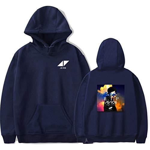 KJYAYA DJ Avicii Unisex Spring Und Autumn Hooded Sweatshirt Mit Kapuze Trendy Street Personality Fashion Plus Kapuzenpullover (Schwarz, L)